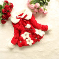 Retail Flower Baby girls coat fur collar outwear kids CORAL FLEECE jacket children girls winter coat 2014 new christmas coat red