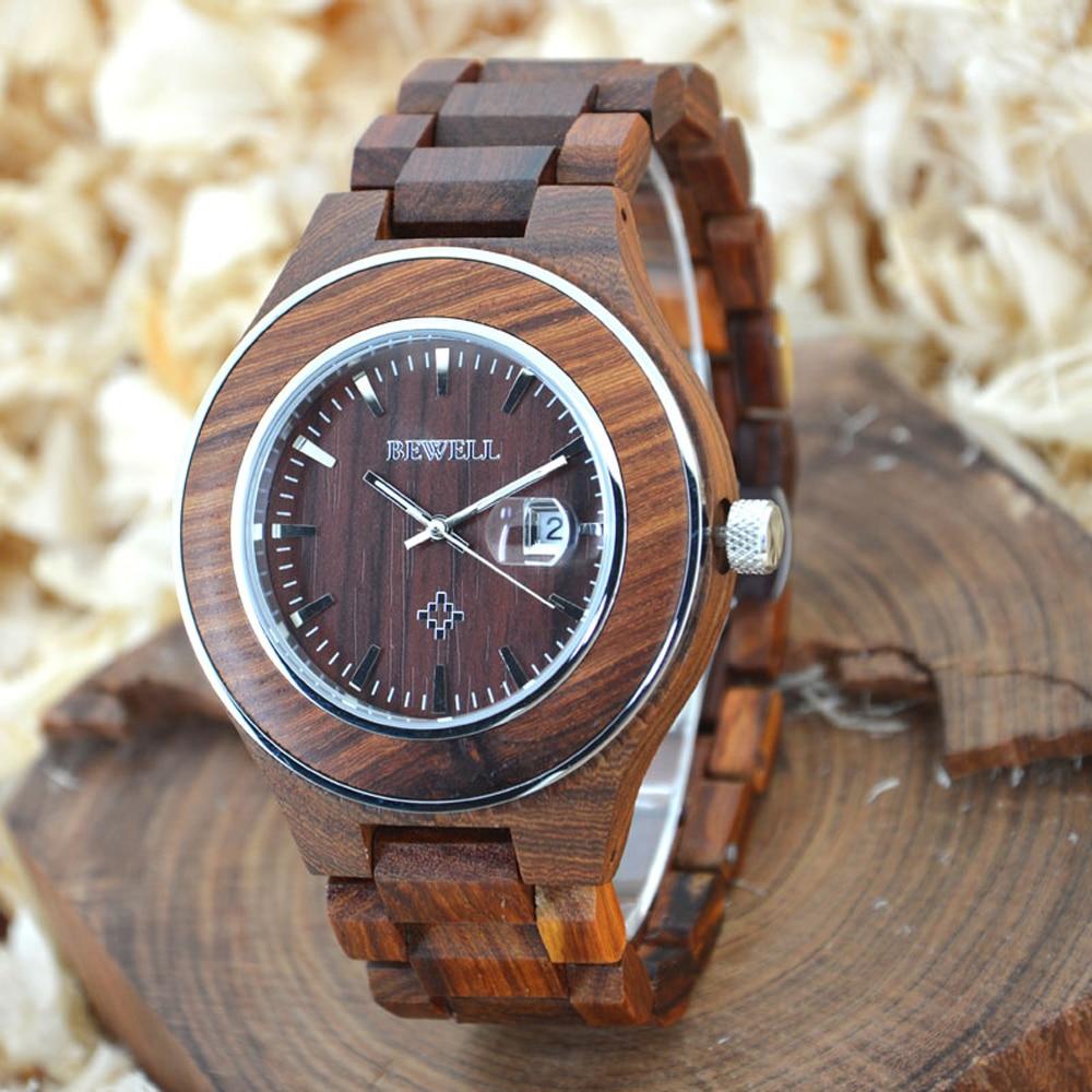BEWELL Wood Steel Watch Men Quartz Brand Luxury With Calendar Waterproof Men s Watches Clock Repair