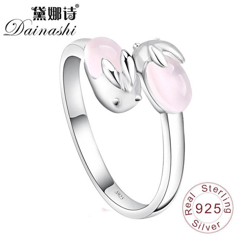 Dainashi Sweet And Lovely Rabbit Ring Girl Powder Crystal 925 Silver Fine Elegant Adjustable Finger Ring For Women Birthday Gift