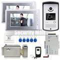 "Chuangkesafe 7"" Video Door Phone Doorbell Intercom IR Camera Monitor Electric Strike Lock RFID Keyfobs"