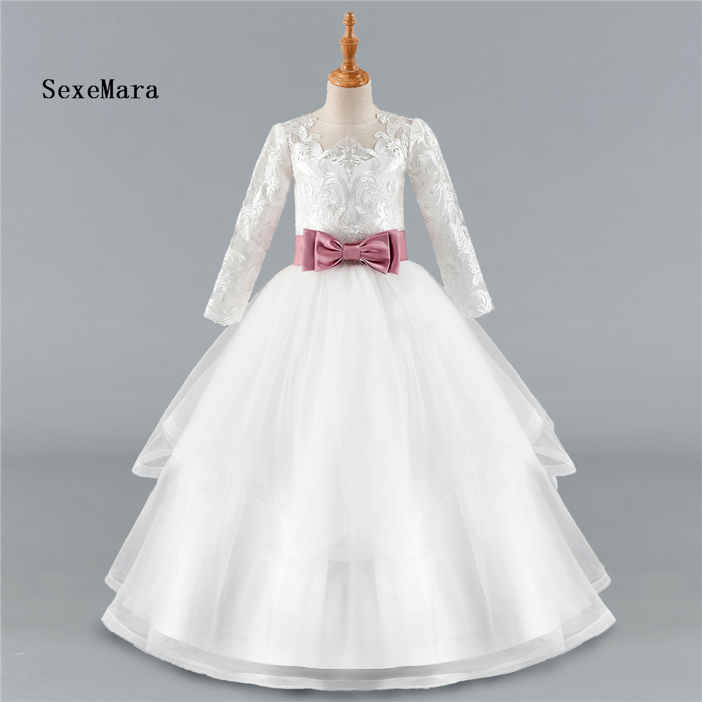 купить 2018 Long Sleeve Flower Girl Dresses For Weddings Ball Gown Tulle Appliques Lace First Communion Dresses Real Pictures онлайн