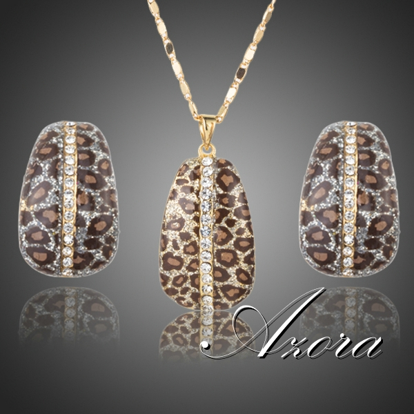 Leopard With Austrian Crystal Clip Earrings and Pendant Necklace and Earring Set