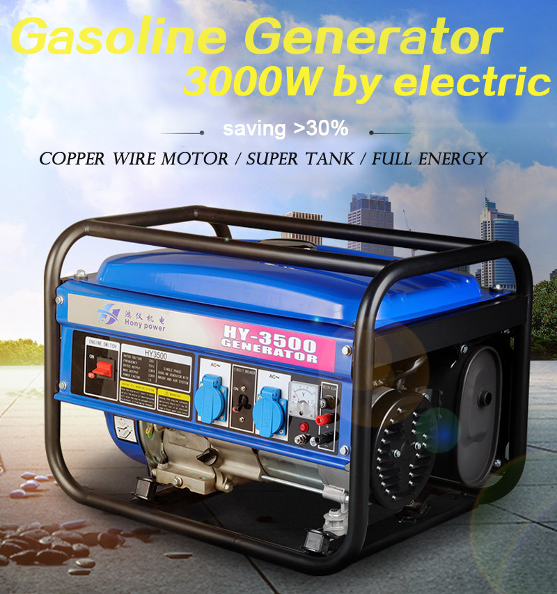 Household Gasoline Generator 3000W 220V 50Hz Single-phase Generator Set 3kW Mute Generator Outdoor Electric Startup Save Oil New