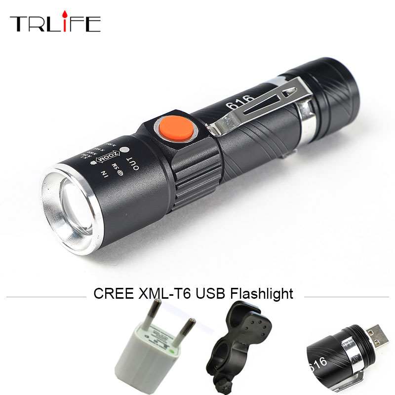 USB Rechargeable 3 Modes Led Flashlight XML T6 Powerful Zoom Tactical Flash Light Bike Hunting Waterproof Lamp with Pen Clip usb rechargeable led flashlight cree xml t6 powerful zoom tactical mini flash light bike hunting torch 3 modes waterproof lamp