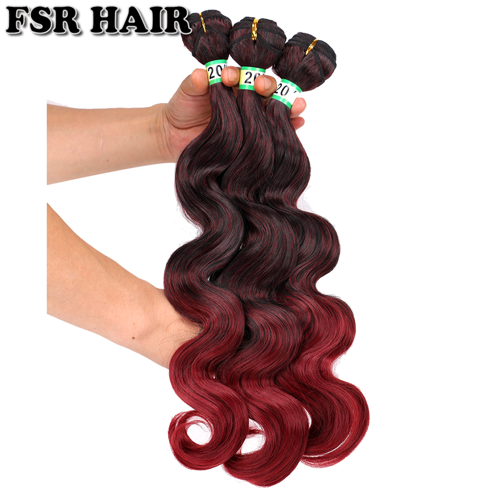 FSR Ombre Hair Weave M1/Burgundy Body Wave Hair Bundles 18-24 Inch High Temperature Synthetic Hair Extensions