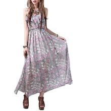 2019 New Yfashion Women Retro Strap Shoulder Flounce Edge High Waist Chiffon Dress