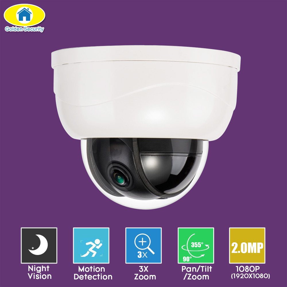 Golden Security 3X Optical Zoom 2.0MP Dome IP Camera 1080P Plastic Indoor HD Mini Medium Speed PTZ CCTV Camera Night Vision new ahd tvi cvi cvbs 1080p mini ir ptz night vision zoom dome camera zoom lens dome camera with 3x optical zoom 2mp motorized