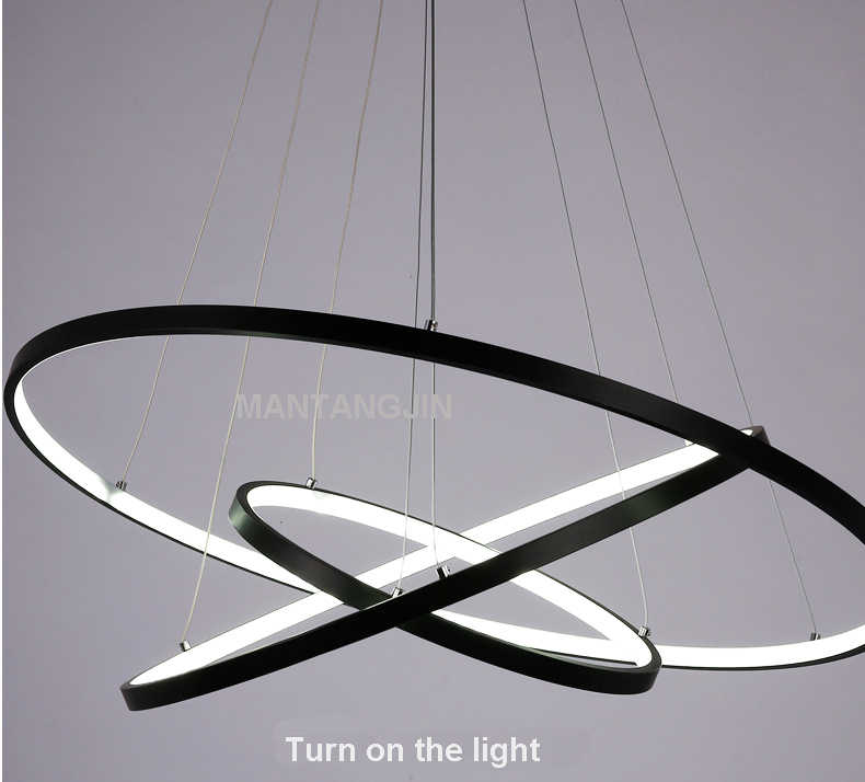 שחור/לבן/זהב מודרני תליון אורות סלון חדר אוכל חדר 4/3/2/1 מעגל טבעות אקריליק אלומיניום גוף LED תליון מנורה