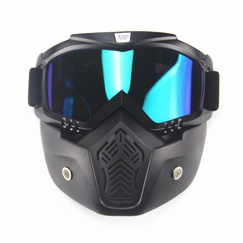 Ski vélo moto masque facial lunettes Motocross moto moteur visage ouvert détachable lunettes casques Vintage lunettes universel
