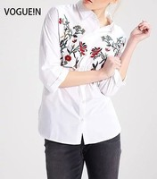 VOGUE N New Womens Ladies Spring Summer Floral Embroidered 3 4 Sleeve Blouse Shirt Tops White