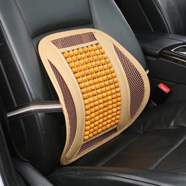 KKYSYELVA Car Seat Support Wooden Bead Back Massage Lumbar For Cushion Auto Headrest Interior