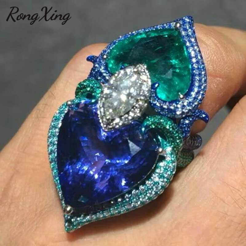 RongXing Big Blue Green Crystal Zircon Double Heart Rings for Women 925 Sterling Silver Filled Birthstone Ring Valentine Jewelry