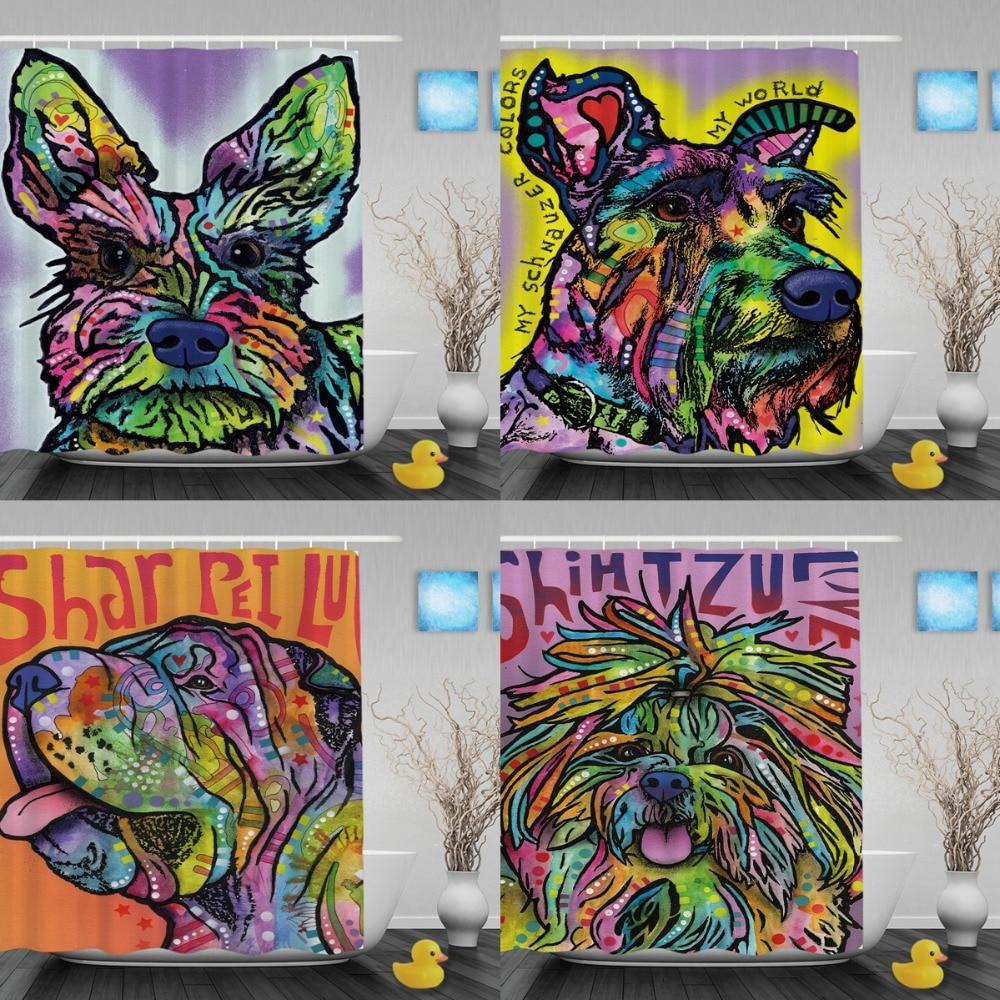Cortina de ducha Shiba Inu divertida Animal colorido diseñado - Bienes para el hogar