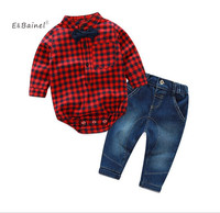 E Bainel Fashion Baby Boy Clothes Set 2Pcs Set Long Sleeve Plaid Romper Jean Pants Baby