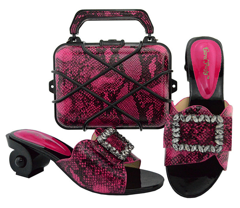 Shoes and Bag Set African Sets 2018 Ladies Italian Shoes and Bag Set Decorated with Rhinestone Nigeria Fuchsia color GL02 все цены
