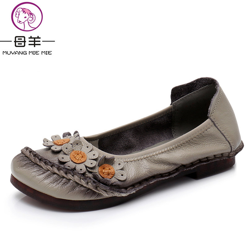 MUYANG MIE MIE Women Flats 2018 Handmade Casual Women Shoes Woman Flower Genuine Leather Flat Shoes Ballet Flats Women Loafers muyang mie mie 2017 new fashion women flats rhinestone genuine leather flat shoes woman casual shoes soft round toe women shoes