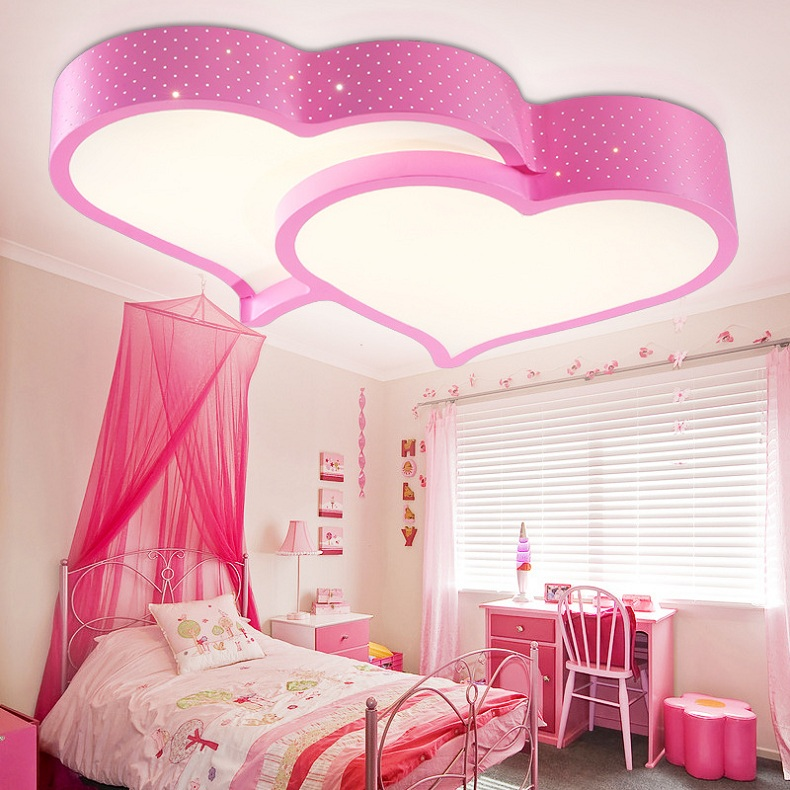 Creative heart shaped LED ceiling light romantic bedroom light ...