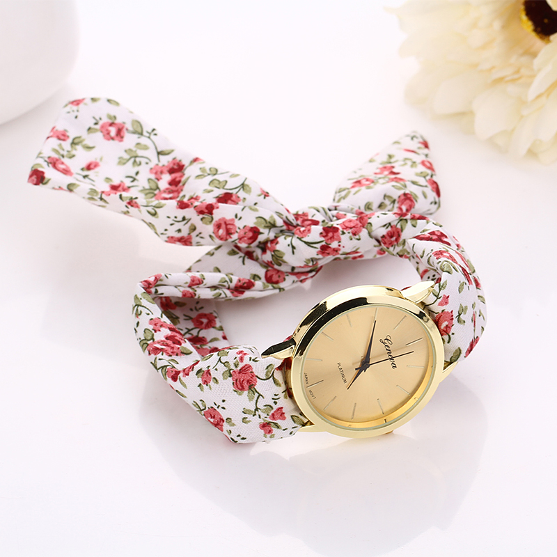 item watches girls quality stripe wrist watch on in from dress new design high fashion geneva women cloth ladies sweet fabric s