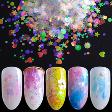 1pcs AB Mermaid Holo Glitter Nail Art Sequins 3D Multi-shape Heart Star  Shiny Paillette d31dd660fcf7