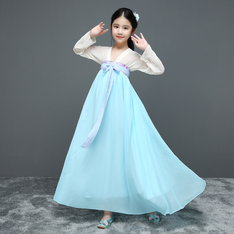 цена на 2018 winter halloween costume for kids traditional chinese dance dress ancient Tang hanfu for girls kids Hanbok Korean dresses