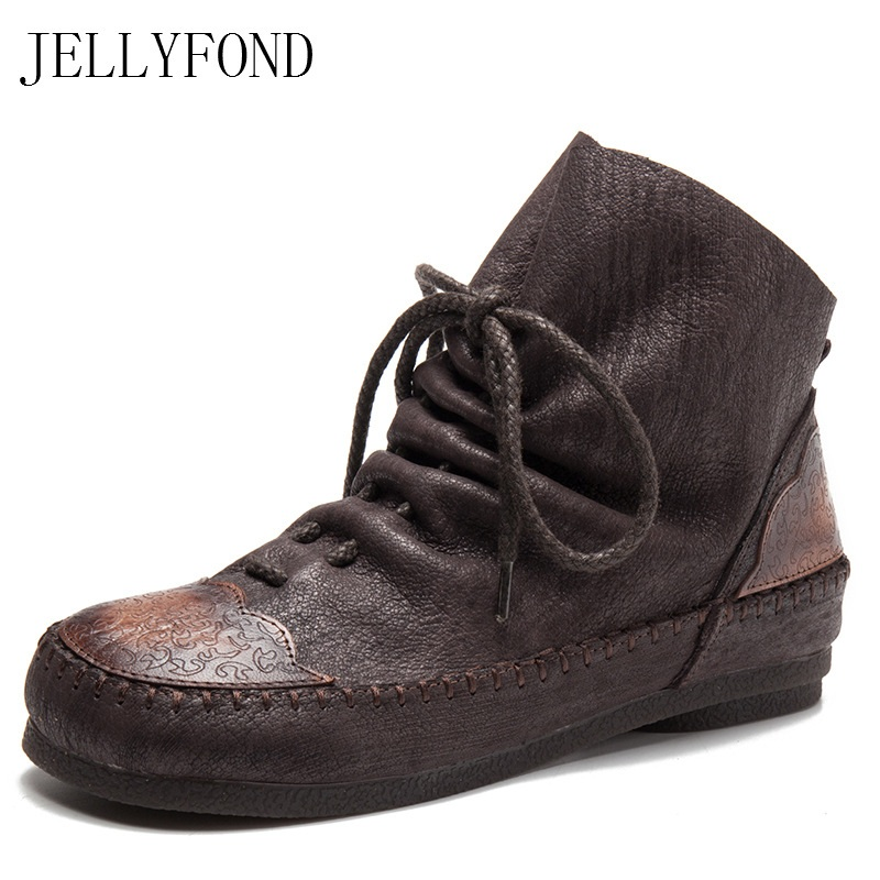JELLYFOND Vintage Style Genuine Leather Designer Ankle Boots Women Round Toe Lace Up Platform Boot Handmade Brand Shoes Woman sfzb new square toe lace up genuine leather solid nude women ankle boots thick heel brand women shoes causal motorcycles boot