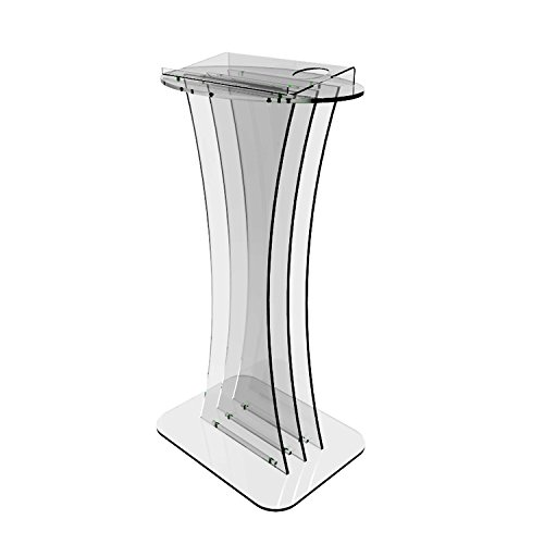 Fixture Displays Podium, Clear Ghost Acrylic Pulpit, Lectern -  FULLY ASSEMBLED ASSEMBLED
