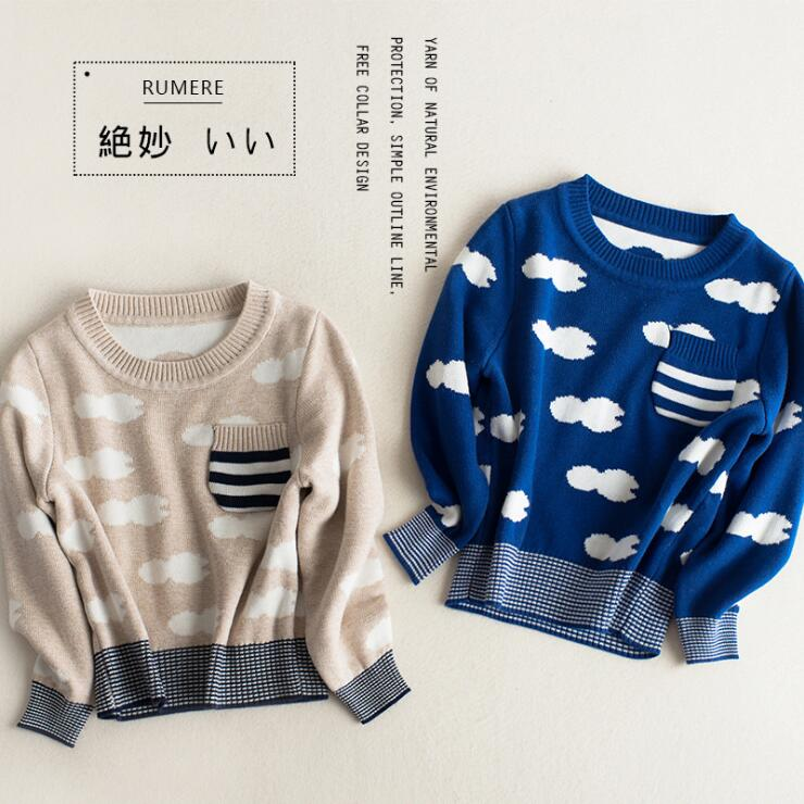 Boys spring autumn sweaters kids clouds printed casual cardigan baby o-neck long sleeve knitted beige blue clothes children 2-7T