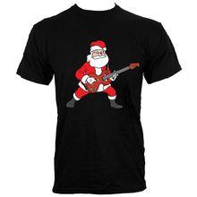 Rockin' Santa Men's Black T-shirt New Short Sleeve Round Collar Mens T Shirts Fashion 2018 Men'S Fashion Black Cotton