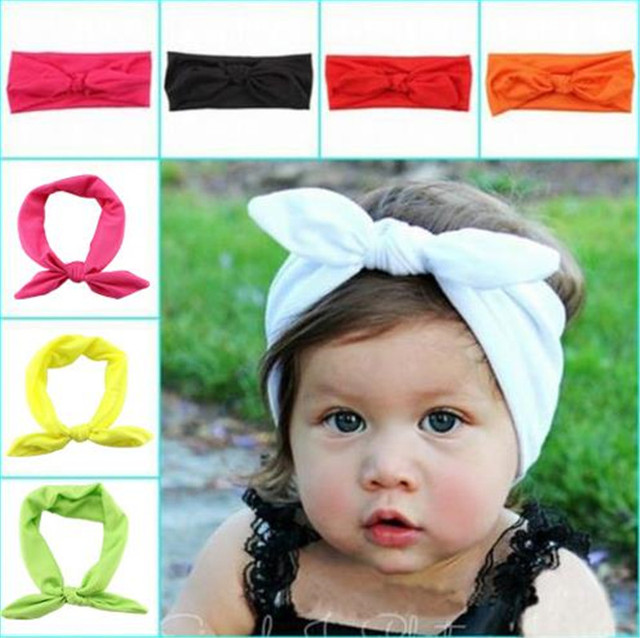 e2817fc57ad0 1 PCS Fashion Baby Girl soft cotton Rabbit ears bowknot Headband Newborn  Infant Hair Accessories Children Elastic Hair Bands