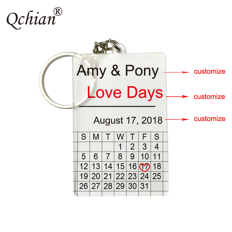 Personalized Calendar Key Chain Custom Engraved Heart Date Name Stainless Steel Key Ring Gifts for Anniversary Birthday Acrylic