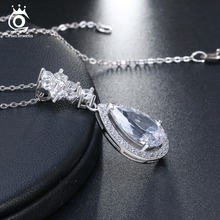 925 Sterling Silver Necklace For Women Big Water Drop Shape AAA Zircon Pendant