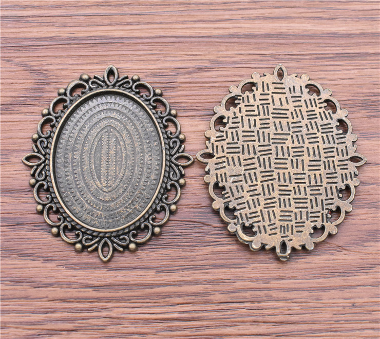 2pcs Antique Silver//Bronze Cameo Cabochon Base Setting Charm Pendants 30x40mm
