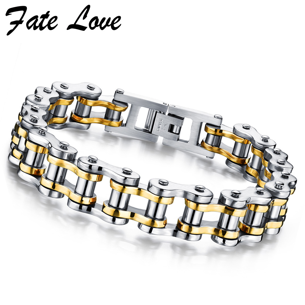 Cool Bracelet Men Jewelry Gold Color Stainless Steel Bicycle Chain Bracelets Bangles Rock Punk Accessories Jewellery Pulseras