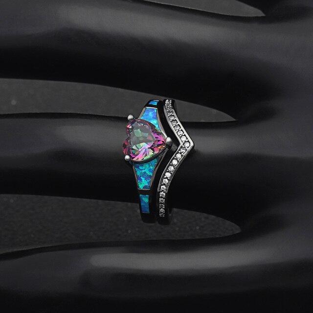 женские кольца с опалом в форме сердца 2 шт винтажные ювелирные фотография