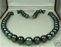 Free Shipping >>>>>NEW Charming! Black 7-8mm Natural akoya Pearl Necklace 18