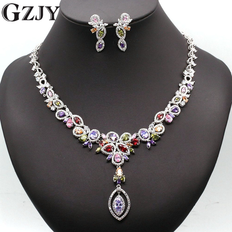 GZJY High Quality White Gold Color Jewelry Sets For Women With Multicolor AAA Zircon Luxury Elegant Bridal Jewelry Gift