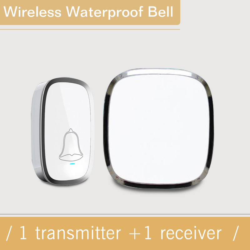 New Upgrade EU White Plug Wireless Doorbell Waterproof Smart 36 Melody Led Ring Door Bell AC220V 1 Doorbells Button +1 Receiver new high quality wireless waterproof door bell 36 music melody 300m doorbell 3 transmitters 3 receiver home doorbells