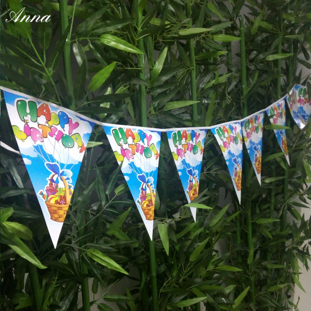 Happy Birthday Baby Birthday Party Banner Shape Birthday Party Decor Pennant Blue Cartoon Supplies Birthday Baby Decoracion in Banners Streamers Confetti from Home Garden