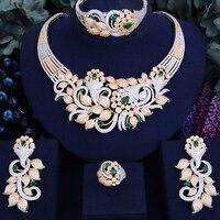 GODKI известный бренд роскошных сверкающих цветок лист Для женщин свадебные Naija люкс для кубического циркония Цепочки и ожерелья Дубай платье