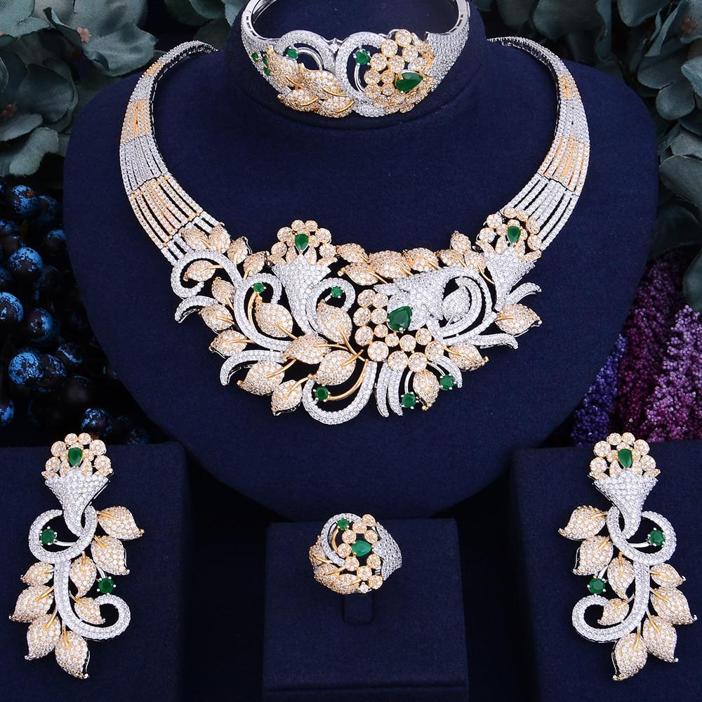 GODKI Famous Brand Luxury Shinning Flower Leaf Women Wedding Naija Bridal Cubic Zirconia Necklace Dubai Dress