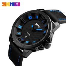 SKMEI Fashion Quartz Watches Men Leather Strap Luxury Casual Brand Watch Waterproof Sports Wristwatches Relogio Masculino 9150 цена