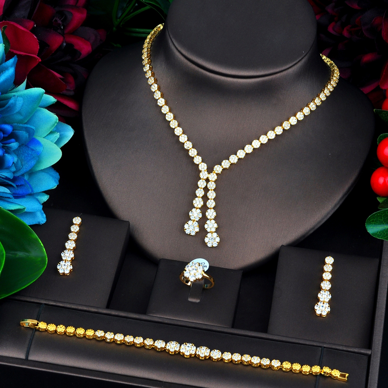 Image 2 - HIBRIDE новый дизайн золотой цвет Свадебный Дубай ювелирные  наборы для женщин Свадебные аксессуары Подарки для вечеринки N  734Ювелирные наборы
