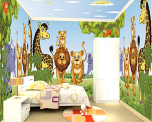 beibehang Green trees personality animal children's room whole house wall full house custom ultra HD papel de parede wallpaper full house