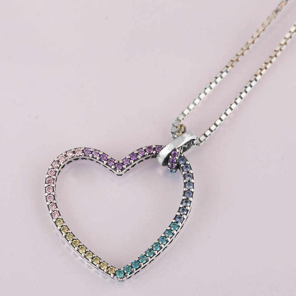 79ce922b14dc7 New Rainbow Heart With Adjustable Sliding Clasp Necklace For Women Wedding  Gift Pandora Jewelry 925 Sterling Silver Necklace