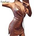 ForeFair Ouro Sliver Bling Lantejoula Sexy Profundo Decote Em V Backless Club Party Vestidos Mulheres Divisão Ajustável Halter Mini Vestido Sexy