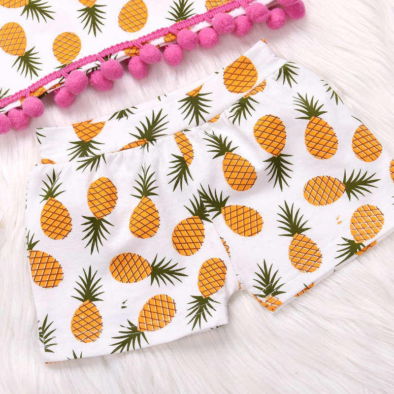 Childrens Clothing Set Three-Piece Ins Explosions Golden Pineapple Print Spill Belly Ear Top + Shorts + Turban Baby Girls Cloth