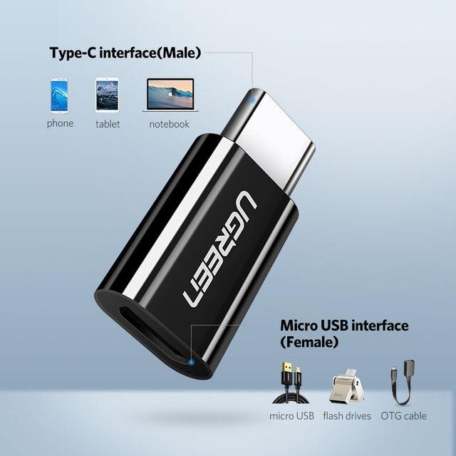 Adaptateur USB C à Micro Type C Convertisseur Samsung Galaxy , Huawei p20 pro p10 OTG 2