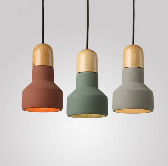 Personality Cement Pendant Light Solid Wood Contemporary Hanging Pendant Lamp Colorful Concret Green Blue Creative Home Lights