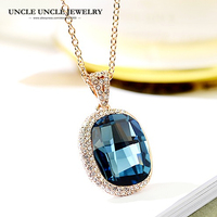 High Quality Big Crystal Dark Blue Woman Necklaces Rose Gold Color Zirconia Luxury Pendant Necklace Christmas Gifts Drop Ship