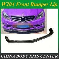 C Class Carbon Fiber car front bumper Lip spoiler for Mercedes Benz W204 C63 AMG Sedan Coupe Only 2008 2009 2010 2011 A style